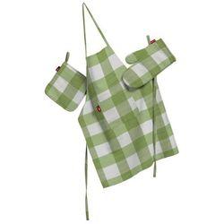 Dekoria Komplet kuchenny łapacz, rękawica oraz fartuch, zielono biała krata (5,5x5,5cm), kpl, Quadro