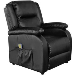 elektryczny rozkładany czarny fotel masujący tv marki Vidaxl