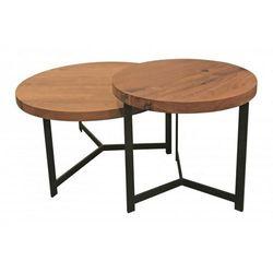 Signu Design Zestaw dwóch stolików dębowych okrąglych Ferrum Steel / Nero / Bianco