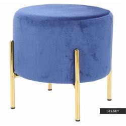 SELSEY Pufa Bingul welwetowa niebieska na złotych nóżkach (5903025535357)