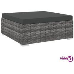 vidaXL Podnóżek do mebli modułowych, z poduszką, polirattan, szary