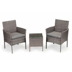 Meble ogrodowe, zestaw kawowy, stół, dwa krzesła, ratan, szary (5903769971626)