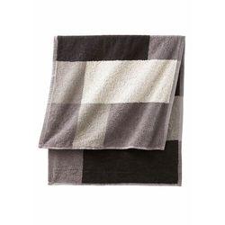 Ręczniki z nadrukiem w kolorowe kwadraty czarno-biało-szary marki Bonprix