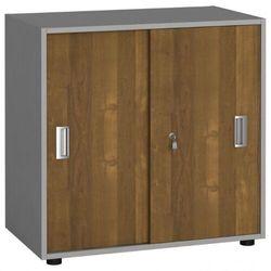 Szafa biurowa z przesuwnymi drzwiami, 740 x 800 x 420 mm, orzech marki B2b partner