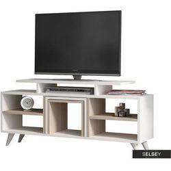 SELSEY Szafka RTV Gilberto biała z elementami cordoba z dwoma stolikami kawowymi (5903025273129)