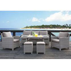 Vente-unique Salon ogrodowy olinda z technorattanu w kolorze jasnego beżu: sofa, 2 fotele, 2 stołki, stół