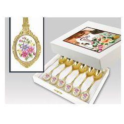 Zestaw gold 6 łyż do herbaty Bukiet Kwiatów box