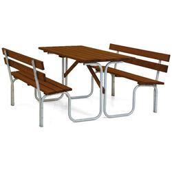 Zestaw piknikowy stół dł. 1500mm barwiony na brąz cynkowana rama