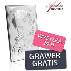 Obrazki srebrne - papież jan paweł ii z grawerem 9 cm* 15 cm, marki Valenti & co