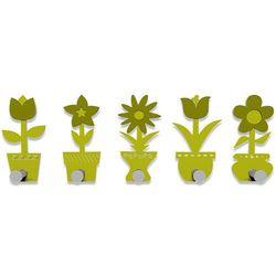 Wieszak ścienny little flowers  cedrowo-zielony marki Calleadesign