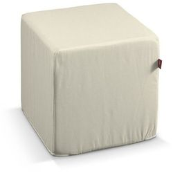 Dekoria Pokrowiec na pufę kostke, satynowa ciepła biel, kostka 40x40x40 cm, Comics