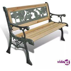 vidaXL Drewniana ławka dla dzieci z motywem zwierzęcym 80 x 24 cm