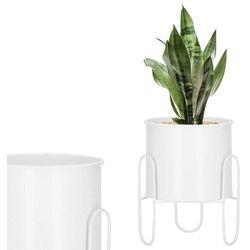 Stojak na kwiaty 21 cm z doniczką nowoczesny kwietnik loft biały mat (5907719419022)