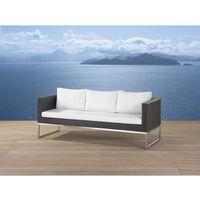 Sofa ogrodowa brązowa - trzyosobowa - stal szlachetna i rattan - crema marki Beliani