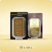 Argor-heraeus, pamp, perth mint 10 x 100 g sztabka złota certipack