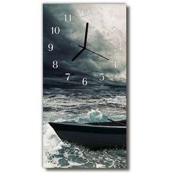 Zegar szklany pionowy krajobrazy łódź szary marki Tulup.pl