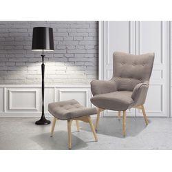 Fotel brązowo-szary + pufa - fotel tapicerowany - krzesło - vejle marki Beliani