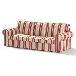 Dekoria Pokrowiec na sofę Ektorp 3-osobową, nierozkładaną, czerwono-bordowe pasy, Sofa Ektorp 3-osobowa, Mirella