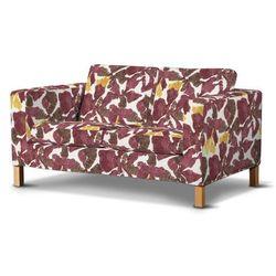 pokrowiec na sofę karlanda 2-osobową nierozkładaną, krótki, żółto-brązowe kwiaty, sofa karlanda 2-os, wyprzedaż do -30% marki Dekoria