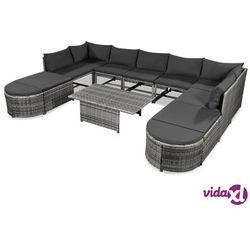 Vidaxl 12-cz. zestaw wypoczynkowy do ogrodu, poduszki, rattan pe szary