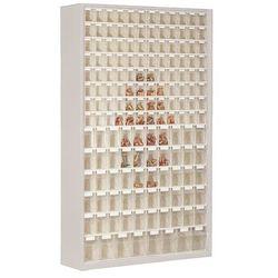Unbekannt Szafa magazynowa z blachy stalowej, z 154 przezroczystymi składanymi skrzynkami,
