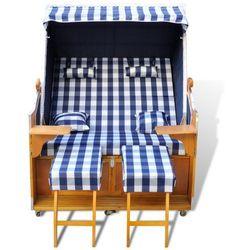 leżak plażowy, kosz niebiesko-biały, dla dwóch osób., marki Vidaxl