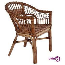 vidaXL Krzesła ogrodowe, naturalny rattan, brązowe (8718475617099)