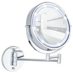 Naścienne lusterko kosmetyczne Power-Loc LUMI z podświetnielniem LED, powiększenie x5, WENKO, B00K6FQ3BY