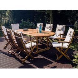 Krzesło ogrodowe drewniane poducha złamana biel maui marki Beliani