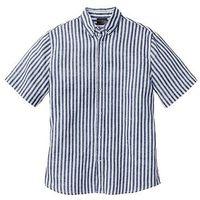 Koszula lniana z krótkim rękawem Regular Fit bonprix ciemnoniebiesko-biały w paski, kolor niebieski
