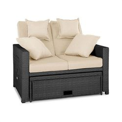 komfortzone sofa wypoczynkowa 2-osobowa technorattan składane stoliki szara marki Blumfeldt