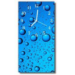 Zegar Szklany Pionowy Natura Krople rosa woda niebieski, kolor niebieski