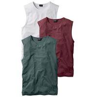 Shirt bez rękawów (3 szt.) Regular Fit bonprix bordowy + ciemnozielony + biały, kolor wielokolorowy