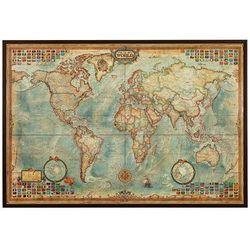 Świat mapa ścienna stylizowana antyczna w aluminiowej ramie (mapa szkolna)
