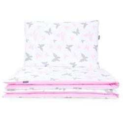 MAMO-TATO 2-el dwustronna pościel dla niemowląt 100x135 Motylki różowe / aplikacja róż