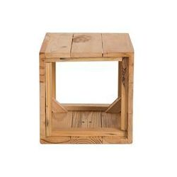 Beliani Doniczka drewniana jasny brąz kwadratowa 28 x 28 x 28 cm akrini