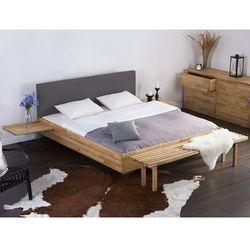 Podwójne łóżko drewniane ze stelażem 180x200 cm, szare ARRAS