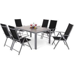 Home & garden Meble ogrodowe aluminiowe capri 145 cm silver / light grey ibiza basic silver / black 6+1 (5902425328507)