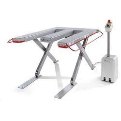 Płaski stół podnośny, seria e, udźwig 300 kg, dł. x szer. 1300x1150 mm, prąd tró marki Flexlift hubgeräte