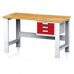 Stół warsztatowy mechanic, 1500x700x700-1055 mm, nogi regulowane, 1x szufladowy kontener, 3 szuflady, czerwone marki B2b partner
