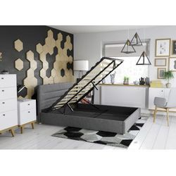 Big meble Łóżko 140x200 tapicerowane monza + pojemnik ciemno szare tkanina