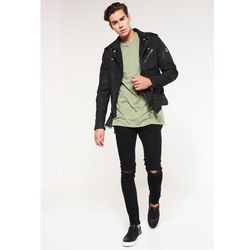 Topman BLACK RIPPED KNEE STRETCH SKINNY FIT JEANS Jeans Skinny Fit black, kolor czarny