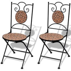 Vidaxl  mozaikowe krzesło bistro terracotta - zestaw 2 szt, kategoria: krzesła ogrodowe