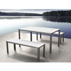Beliani Aluminiowe meble ogrodowe białe z dwiema ławkami, polywood, nardo
