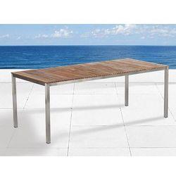 Beliani Stół ogrodowy - teak-stal szlachetna - 1 x stół 200 x 90cm - viareggio