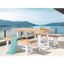 Meble ogrodowe biało-brązowe - ogród - stół z 2 ławkami - SCANIA - produkt z kategorii- Zestawy ogrodowe
