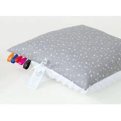 poduszka minky dwustronna 30x40 mini gwiazdki białe na szarym / biały marki Mamo-tato