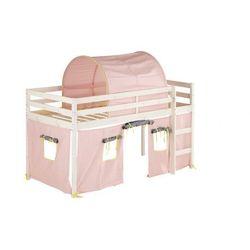 Łóżko na podwyższeniu lilio z różowymi zasłonkami i namiotem - 90 × 190 cm - lite drewno sosnowe - bielone marki Vente-unique