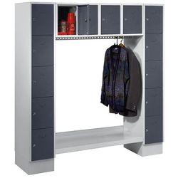 Szafa na garderobę, otwarta, wys. x szer. całk.: 1850x1800 mm, 14 półek, bazalto marki Eugen wolf