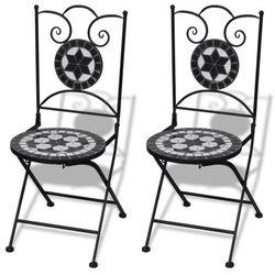 Vidaxl  mozaikowe krzesło bistro czarne / biały zestaw 2 szt, kategoria: krzesła ogrodowe